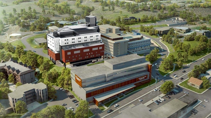 An aerial rendering of Royal Inland Hospital's future patient care tower.