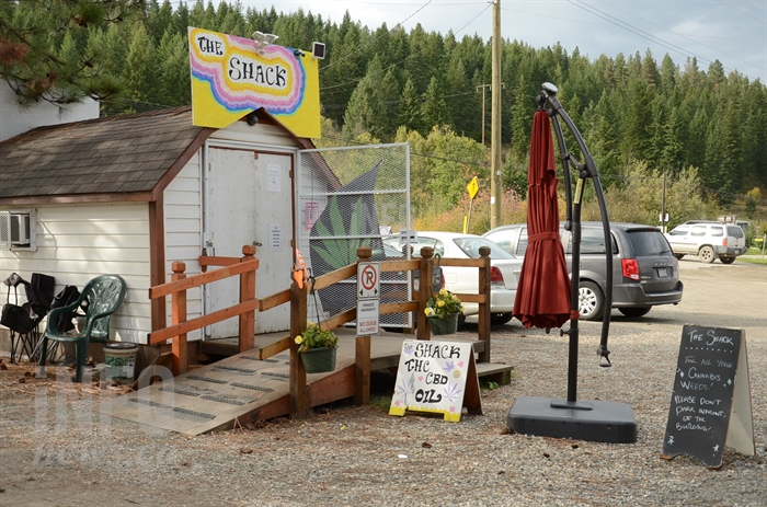 The Shack cannabis store sits on the edge of town at the Enderby Flea Market.