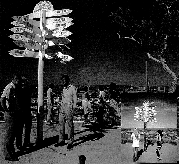 This image from the 1985 edition of Mount Isa Mimag magazine (now called Mine to Market) shows Kamloops men with the recently updated signpost.