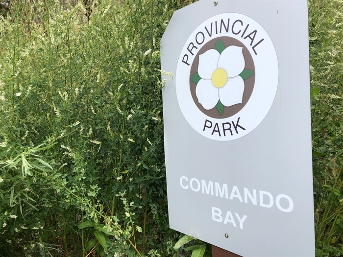 A memorial plaque and some signage is all that remains of Operation Oblivion's training gounds at Commando Bay on Okanagan Lake today.