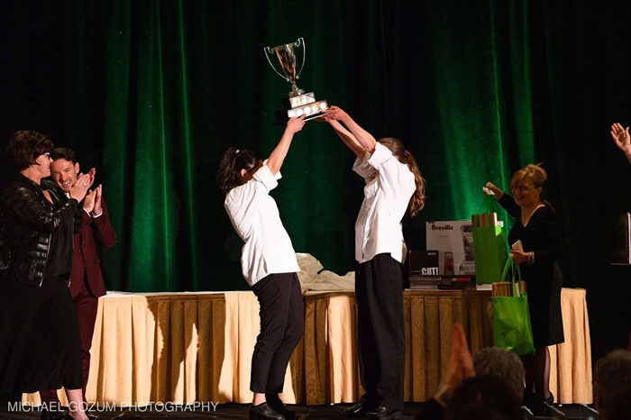 The gold medal was awarded to Sarah Ayach and Kathleen Williams from SAIT College (Calgary, Alberta) for their Duo of Alberta Beef with Fall Vegetables.