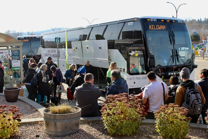Ebus marked one year of service in the B.C. Interior by handing out goodies to passengers at the Kelowna airport, Friday, Nov. 1, 2019.