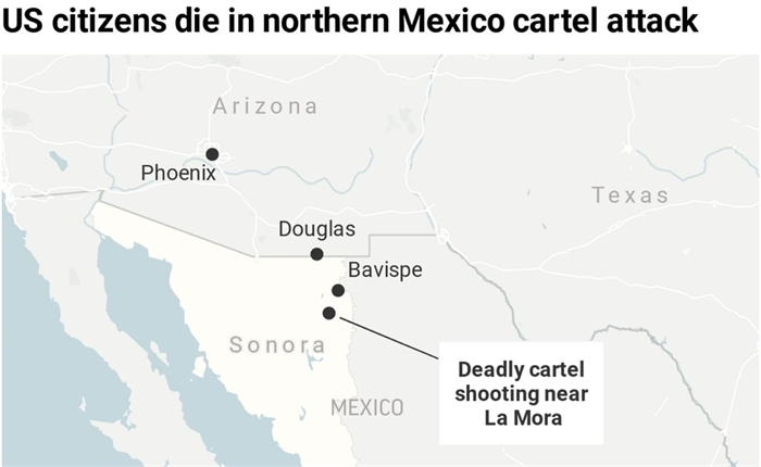 Map locates the site of the cartel killings of at least nine US citizens in the Mexican state of Sonoma.