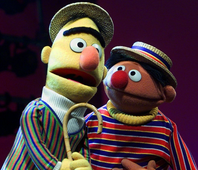FILE - In this Aug. 22, 2001, file photo, muppets Bert, left, and Ernie, from