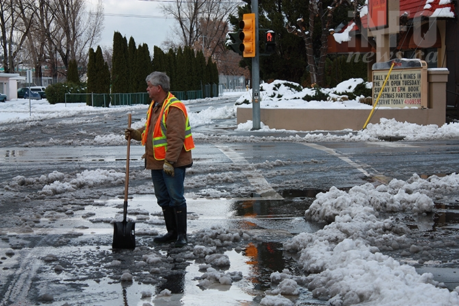 Five years ago the Okanagan was hit by an early winter overnight snowstorm that dropped rain and soggy wet snow throughout the valley. Vernon received 14 cm of snow, while Kelowna received a combination of 17 cm of snow and four mm of rain. In Penticton, 21 cm of snow fell, setting a record for snowfall on that day. Above, Penticton city worker Ron Johnson clears a storm drain on Nov. 26, 2014.