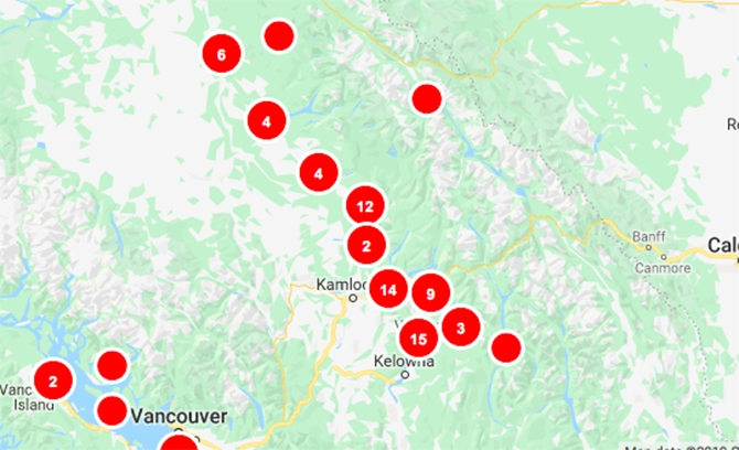 BC Hydro is responding to numerous power outages this morning, Dec. 31, 2019.