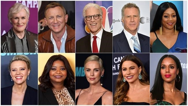 This combination photo shows, top row from left, Glenn Close, Daniel Craig, Ted Danson, Will Ferrell, Tiffany Haddish, bottom row from left, Kate McKinnon, Octavia Spencer, Charlize Theron, Sofia Vergara and Kerry Washington, who will serve as presenters at the Golden Globe Awards on Sunday.
