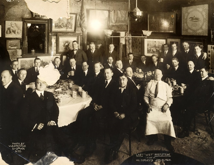 In this Jan. 13, 1920 photo provided by McSorley's Old Ale House, clients and staff pose in the New York bar shortly before the beginning of Prohibition. Located in Manhattan's Lower East Side, McSorley's opened in the mid-19th century, functioned as a speakeasy during Prohibition, and continues in operation today.