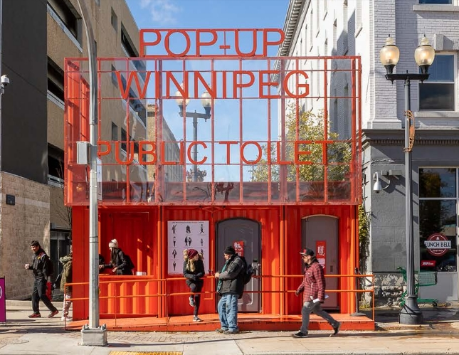 This is the Winnipeg Pop-Up Public Toilet.