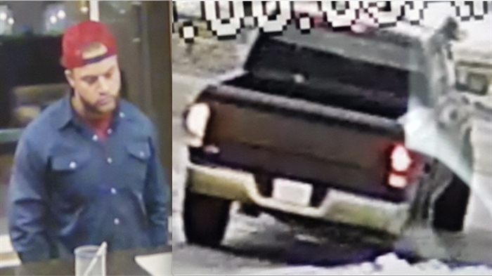 RCMP are looking for this suspect and suspect vehicle following a suspicious fire at the Travelodge motel on Rogers Way in Kamloops, Thursday, Jan. 30, 2020.