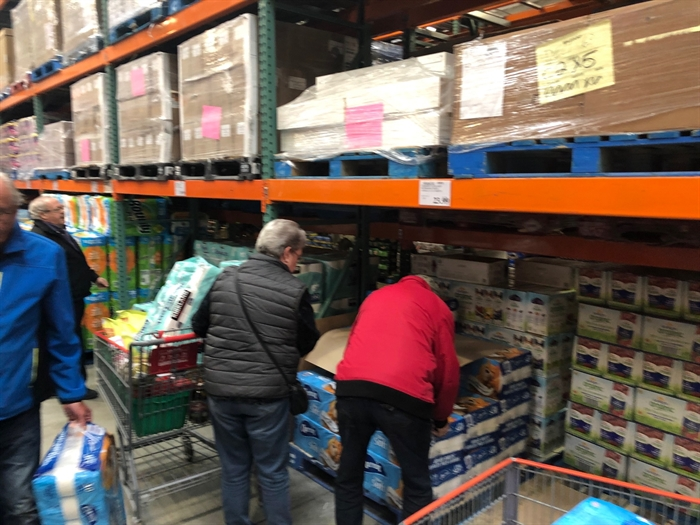 Residents stock up on toilet paper at Kelowna's Costco, March 6.