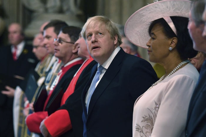 Britain's Prime Minister Boris Johnson attends the annual Commonwealth Service at Westminster Abbey in London Monday March 9, 2020. Britain's Queen Elizabeth II and other members of the royal family along with various government leaders and guests are attending the annual Commonwealth Day service, the largest annual inter-faith gathering in the United Kingdom.