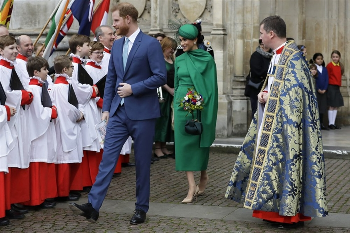 Britain's Harry and Meghan the Duke and Duchess of Sussex leave after attending the annual Commonwealth Day service at Westminster Abbey in London, Monday, March 9, 2020. The annual service, organised by the Royal Commonwealth Society, is the largest annual inter-faith gathering in the United Kingdom.