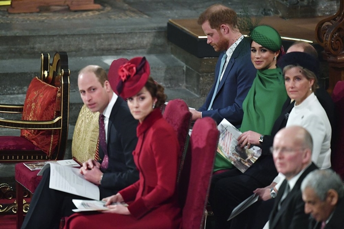Britain's Prince William and Kate Duchess of Cambridge, front, with Prince Harry and Meghan Duchess of Sussex, behind, attend the annual Commonwealth Service at Westminster Abbey in London Monday March 9, 2020. Britain's Queen Elizabeth II and other members of the royal family along with various government leaders and guests are attending the annual Commonwealth Day service, the largest annual inter-faith gathering in the United Kingdom.