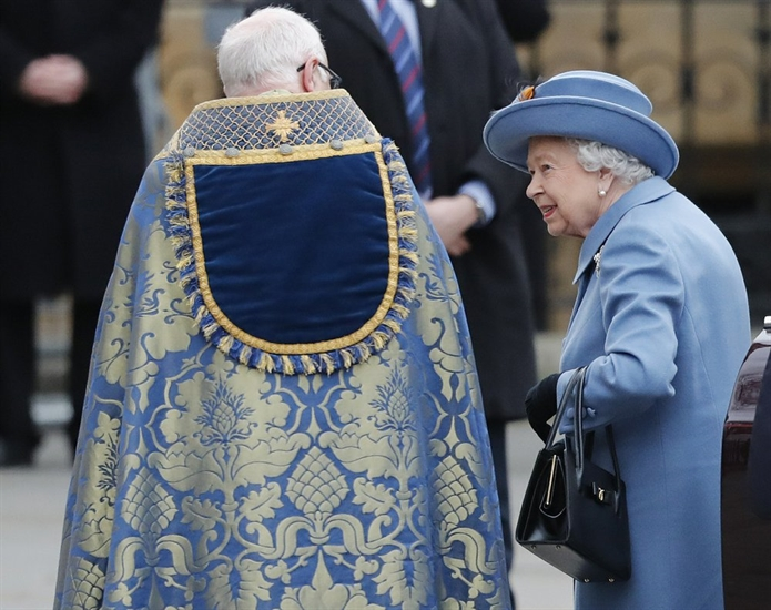 Britain's Queen Elizabeth II arrives to attend the annual Commonwealth Day service at Westminster Abbey in London, Monday, March 9, 2020. The annual service organised by the Royal Commonwealth Society, is the largest annual inter-faith gathering in the United Kingdom.