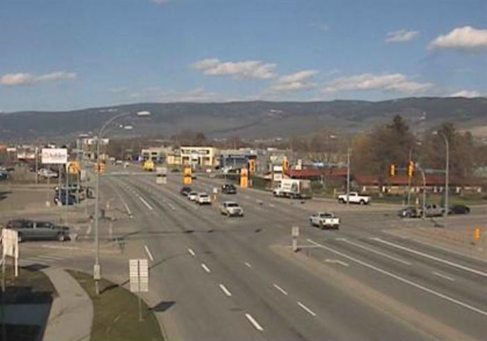 Intersection of Hwy 97 and Hwy 33 in Kelowna, looking north up 97. 4:28 p.m. April 7.