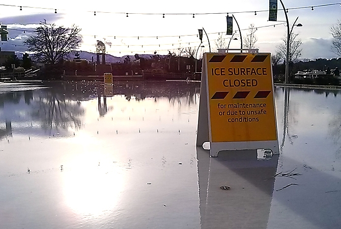 Downtown Kelowna's Stuart Park Arena was closed in January when the soaring temp turned the ice rink into a large, wet puddle.