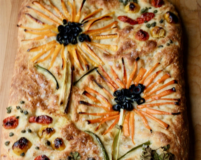 The baked version of the beautiful focaccia edible art!