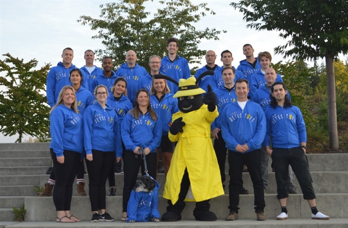 Twenty members of the Pest Detective team pose with their mascot Petey. To inquire about Pest Detective's services, call 250-860-2867.
