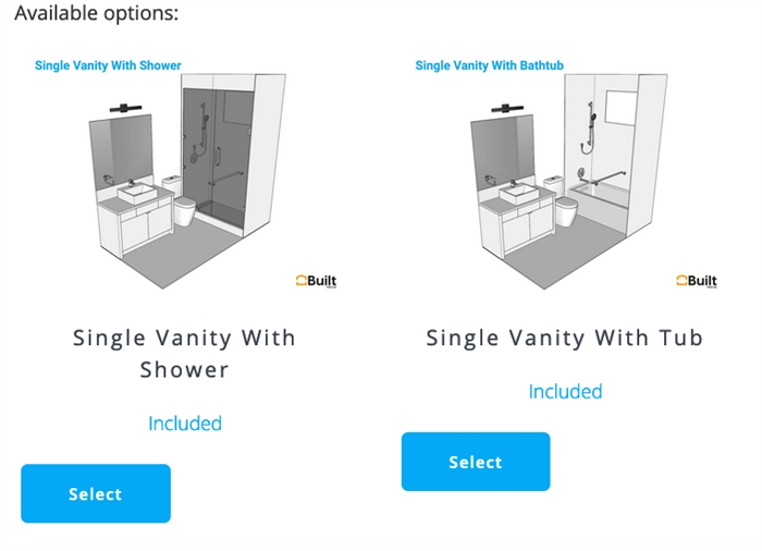 These are a couple of options for master bathroom layouts.