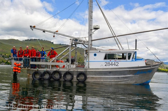 The vessel used for shrimp collection in Okanagan Lake by Piscine Energetics.