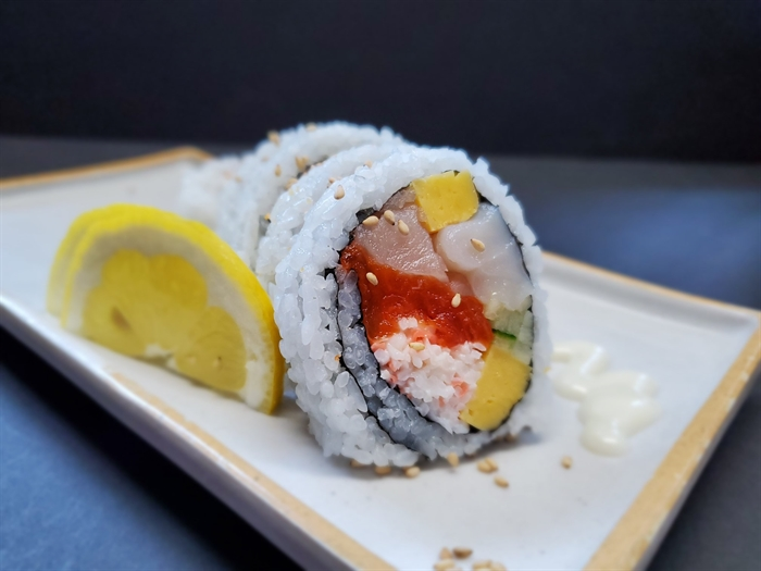 Blue Fish Sushi's House Roll, with tuna, salmon, scallop crab and cucumber.