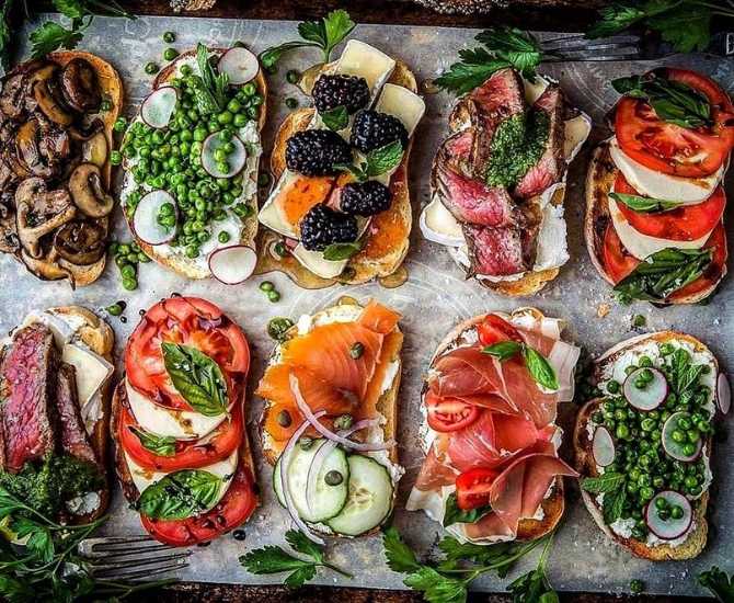 Bruschetta selection made by Kevin Negoro, executive chef at FSH and the new AT 509 in Kelowna.