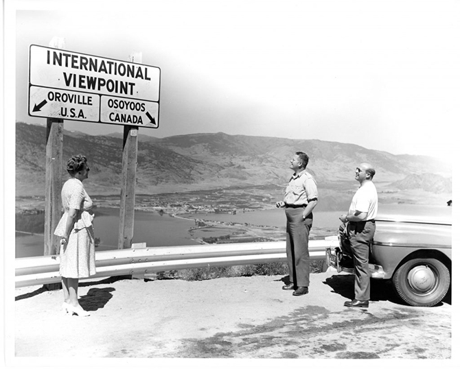 Viewpoint signage on Anarchist Mountain above Osoyoos in an undated photo.