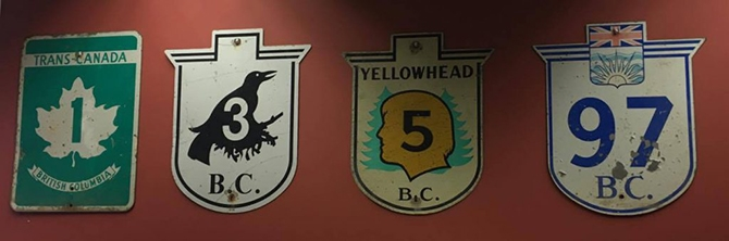 A collection of vintage B.C. highway signs on display at the Ministry of Transportation and Infrastructure's regional office in Kamloops.