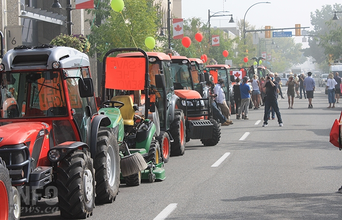 Tractors lined the 100 block of Penticton's Main Street this afternoon.