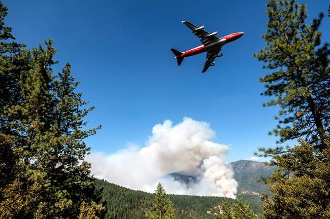 FILE - In this Sept. 17, 2020, file photo, an air tanker prepares to drop retardant while battling the August Complex Fire in the Mendocino National Forest, Calif.