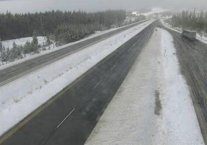 The Drive B.C. webcam view on Highway 97C at Elkhart looking west.