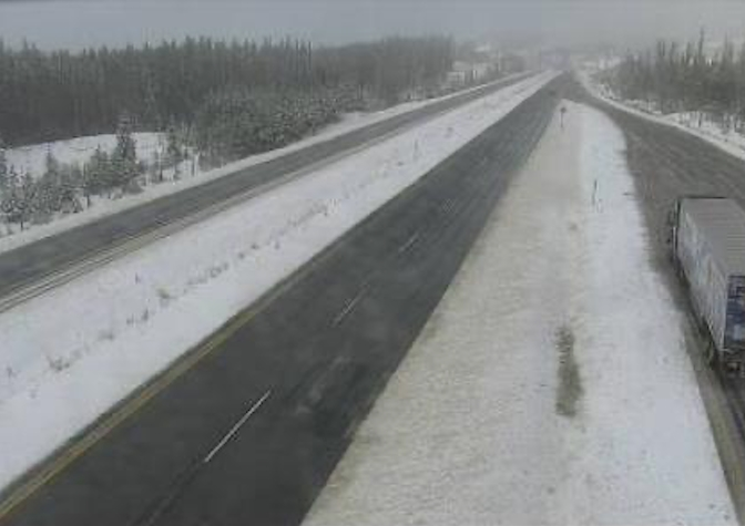 The Drive B.C. webcam view on Highway 97C about 25 kim east of the junction with Highway 5A looking west.