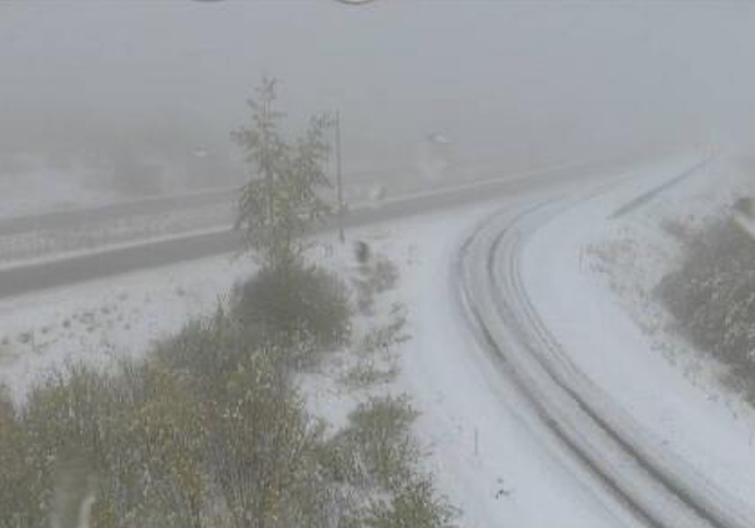 The Drive B.C. webcam view on Highway 97C at Brenda Mine looking east.