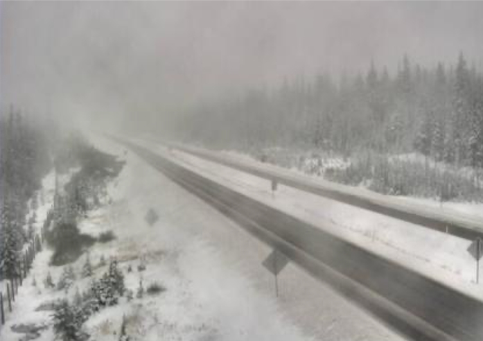 The Drive B.C. webcam view on Highway 97C at the Pennask Summit around 74 km west of Kelowna looking east.