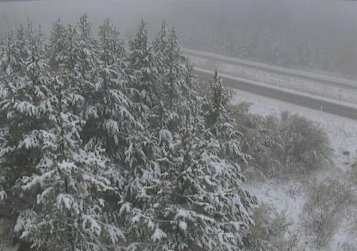 The Drive B.C. webcam view on Highway 97C at Brenda Mine looking west.