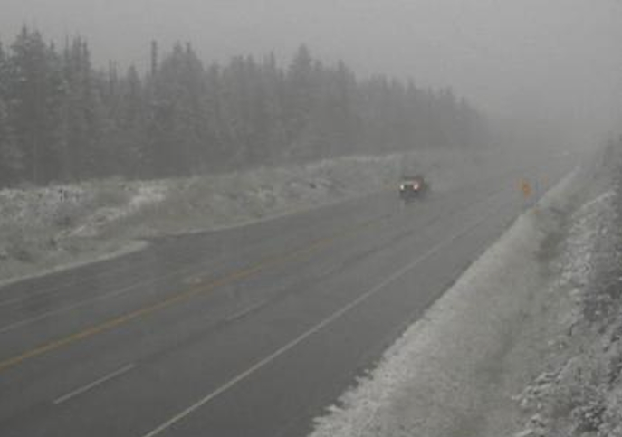 The Drive B.C. webcam view on Highway 1 near Quartz Creek around 40 kilometres west of Golden looking east.