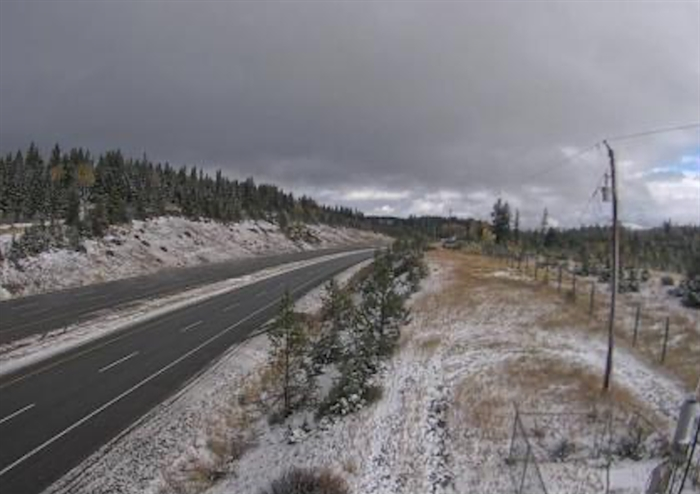 The Drive B.C. webcam view on Highway 5 at Walloper around 30 kilometres south of Kamloops looking north.