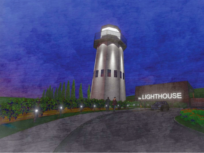 This is the rendering of an eight-storey lighthouse planned for Goats Peak Winery.