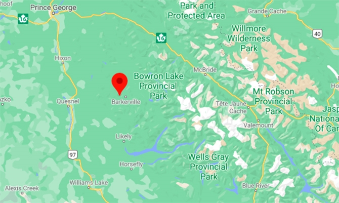 The community of Wells, British Columbia, is located about 8 kilometres west of Barkerville, east of Quesnel.