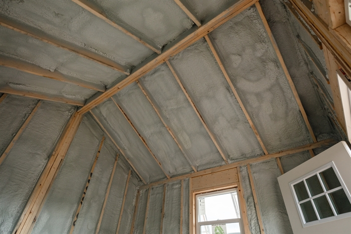 An inside peek of the Insulation of garden shed.