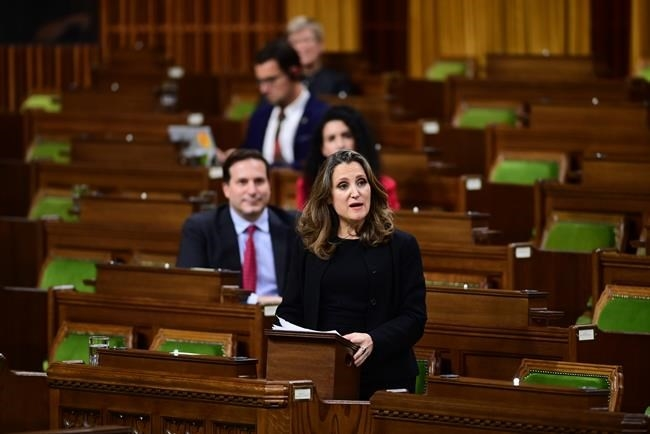 Minister of Finance Chrystia Freeland delivers the 2020 fiscal update in the House of Commons on Parliament Hill in Ottawa on Monday, Nov. 30, 2020.