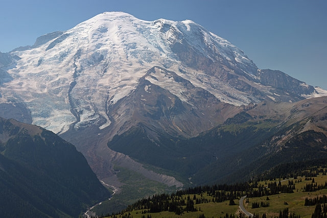 Mount Rainier in Washington State is seen in this September 2013 photo from Wikimedia Commons.
