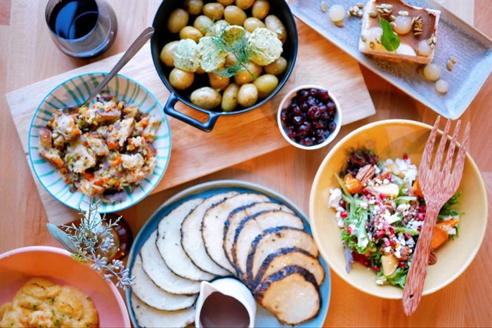 An alternative Christmas dinner from Kelowna's Frankie We Salute You! plant-based restaurant. Slow roasted celery root with a coffee and winter spice rub, turnip puff, heritage grain sourdough stuffing, fingerling potatoes with vegan herbed butter, wine-soaked cranberries, Chef Brian Skinner's Gold Medal Plates award-winning mushroom jus, root vegetable and pomegranate salad, pumpkin cheesecake.