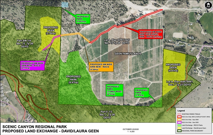 This map shows what lands are proposed to be exchanged in Scenic Canyon Regional Park.