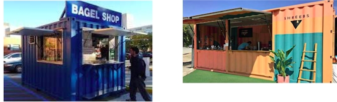 The beach vending hub concept could use C can metal shipping containers as venues.