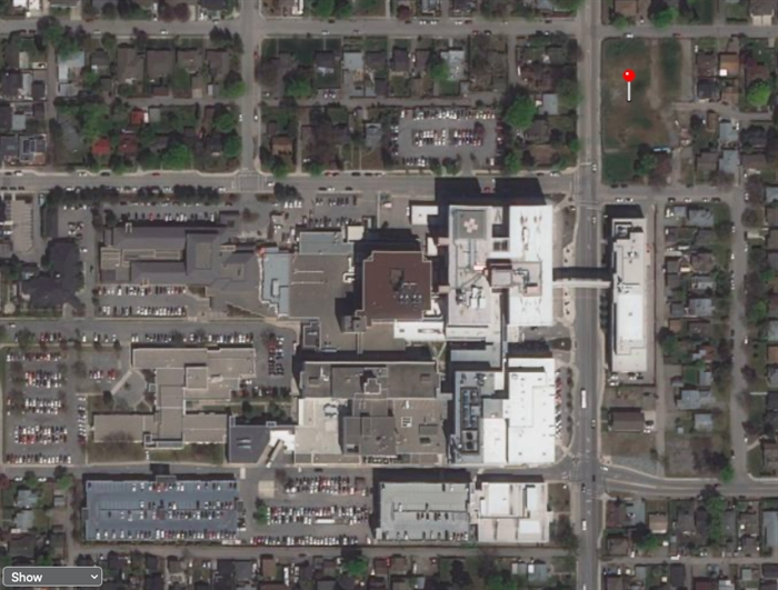 The red dot in the top right corner shows the location of the new land bought by Interior Health next to Kelowna General Hospital. Below that is the Dr. Walter Anderson building. Below that and to the right of the alleyway is where the new Speer Street staff parking lot now sits. Towards the bottom left is the space between the two existing parkades that Interior Health rejected as a site for a new staff parkade.