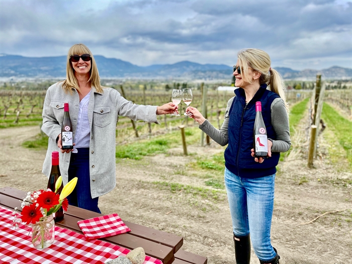Book a Covid safe tasting in the orchard at The View in Southeast Kelowna.(Jennifer Turton-Molgat (L) with Jennifer Schell (me)