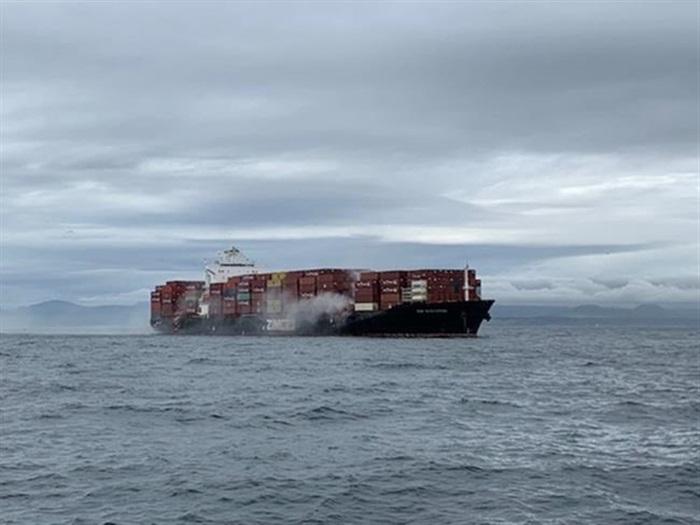 Hazardous materials burned aboard container ship anchored near Victoria