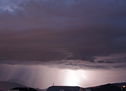 A storm rolls over the region Tuesday, May 26, causing intense lightning in the Kamloops area.